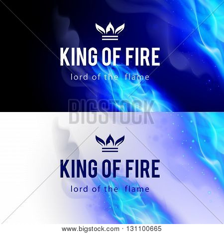 Realistic Blue Fire Flames Effect on Black and White Backgrounds