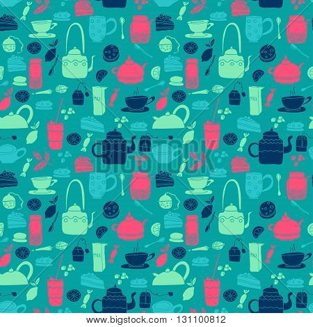 Vector seamless pattern. Tea theme. Colored hand drawn cartoon tea objects. Blue and pink