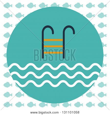 Abstract illustration with a pool ladder and water with waves in a round green frame over an white background with fish. Digital vector image.