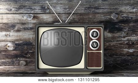 Antique TV set with black screen, wooden background. 3D rendering