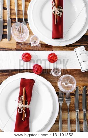 Beautiful table setting, close up