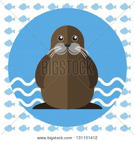 Abstract illustration with a walrus on blue water with waves in a round blue frame over an white background with fish. Digital vector image.