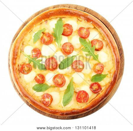 Pizza Margherita with arugula, isolated on white