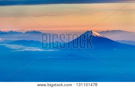Aerial view of Mount Fuji in the morning - Japan