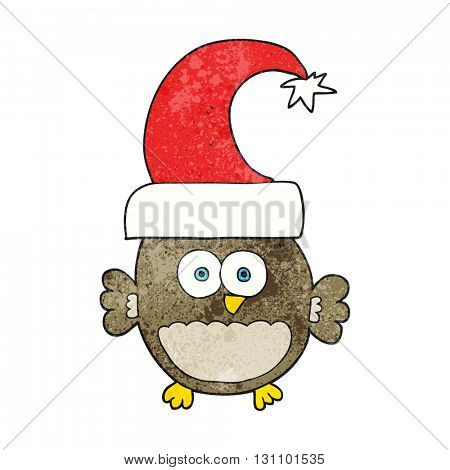 freehand textured cartoon little christmas owl