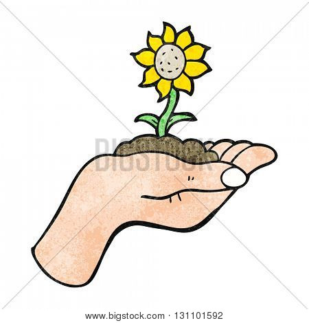 freehand textured cartoon flower growing in palm of hand