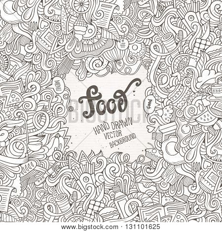 Abstract sketchy vector decorative doodles food background. Template frame design for card.