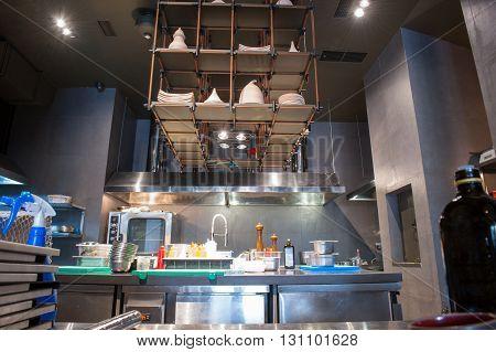 Elegant kitchen with modern equipment in restaurant