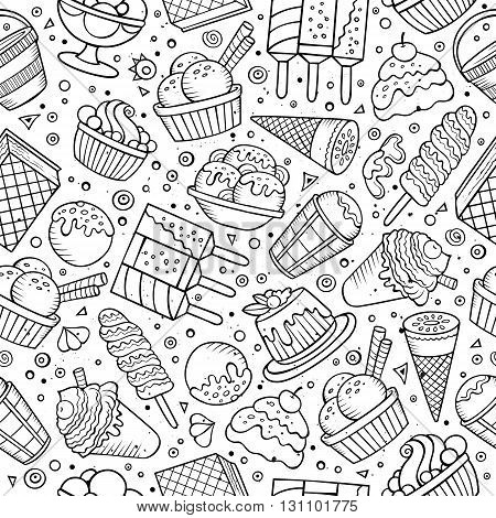 Cartoon hand-drawn ice cream doodles seamless pattern. Sketchy detailed, with lots of objects vector background