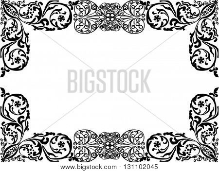 illustration with black curled frame isolated on white background