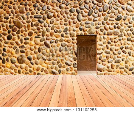 Stone Wall With Door And Wood Floor In Front Off