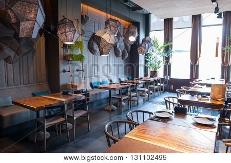 Here you can eat and relax. Elegant restaurant with beautiful modern interior