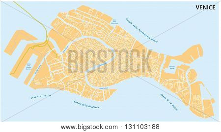 outline map of the Italian town of Venice