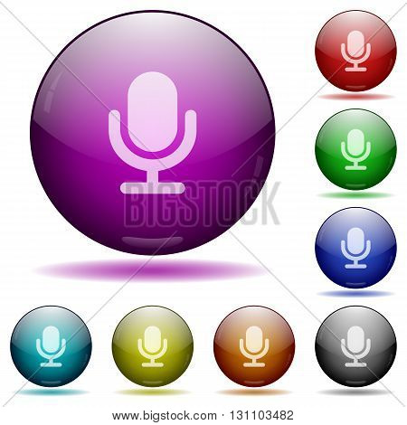 Set of color microphone glass sphere buttons with shadows.
