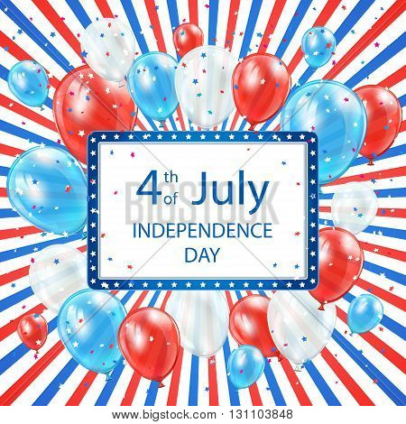 Independence day colored background with card and balloons, USA Independence day theme 4th of july, illustration.