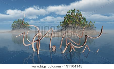 Computer generated 3D illustration with giant octopus and island