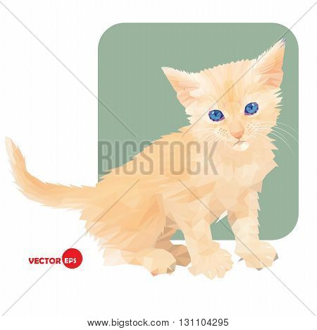 Little kitten in polygonal style on white and green background. Pet cat. Red cat. Print the cat for clothing and t-shirts children's books cartoon. Favorite small cat.