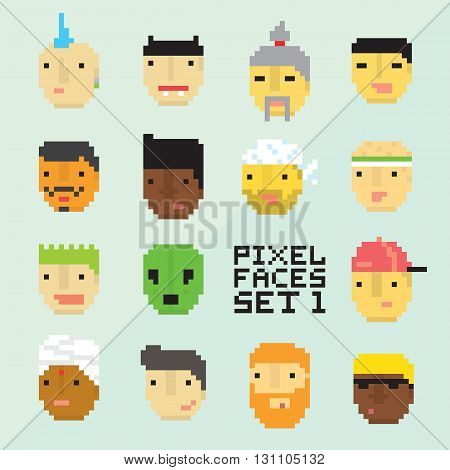 Pixel art style 15 cartoon avatar faces vector set one