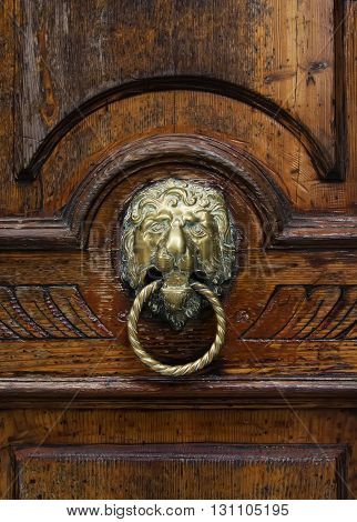 Antique knocker on a wooden door Venice Italy