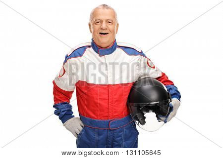 Cheerful mature car racer holding a helmet and smiling isolated on white background