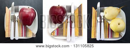 Red and yellow apples on white plates set. Vitamin low-calorie vegetarian and special diet breakfasts and healthy snacks. Apples fruits.