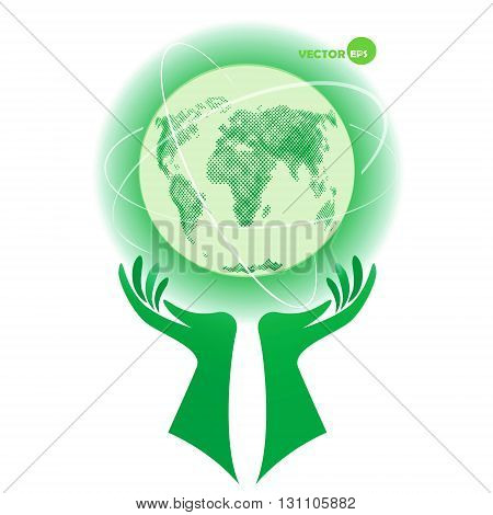 Globe planet Earth. Earth Day protect the environment day. World in our hands help for nature. Environmental protection. Globe on hands with ways vector illustration concept design.