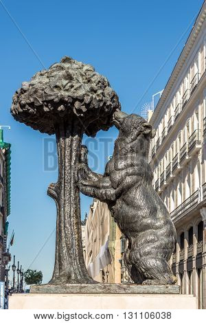MADRID,SPAIN - APRIL 25,2016 - Madrid Official Symbol - The Bear and The Strawberry Tree. Madrid is the capital of Spain.