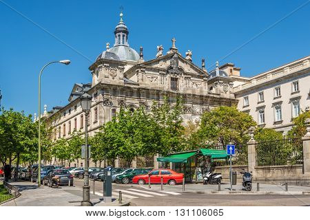 MADRID,SPAIN - APRIL 25,2016 - Church Santa Barbara in the streets of Madrid. Madrid is the capital of Spain.