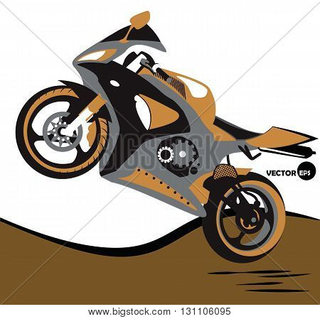 Bike jumps on the motorcycle and extreme sports. Sportbike. Motobike sport body kit.