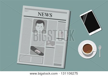 set of objects on office table vector illustration flat style