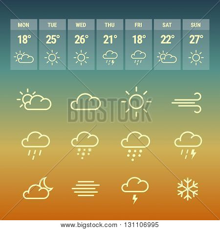 Weather forcast line icons on gradient hot background. Collection of symbols with aplication.
