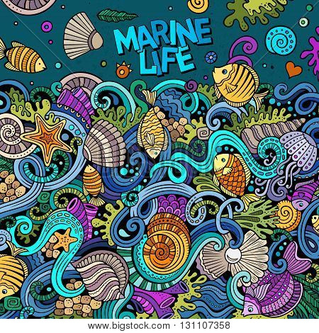 Cartoon hand-drawn doodles Underwater life illustration. Colorful detailed, with lots of objects vector background