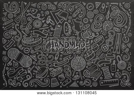 Line art chalkboard vector hand drawn doodle cartoon set of handmade objects and symbols
