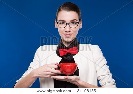 Brunette In Glasses With A Cup In His Hands
