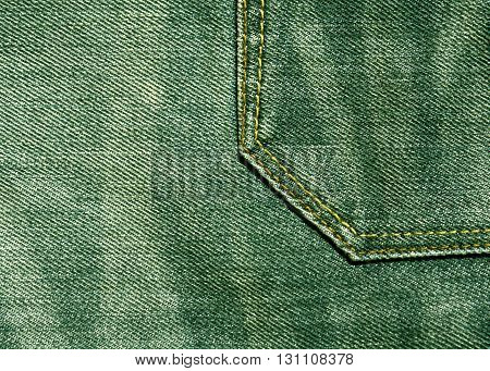 Green Denim Pants With Pocket