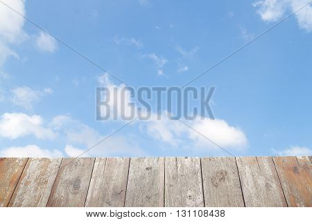 sky and old wooden floor and space for add text above