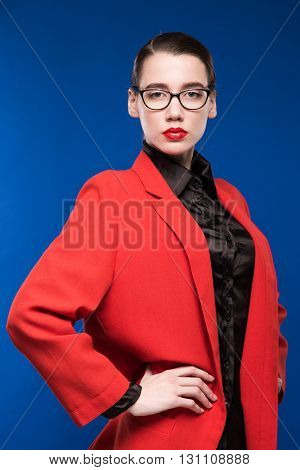 Portrait Of A Girl In A Jacket With Red Lipstick