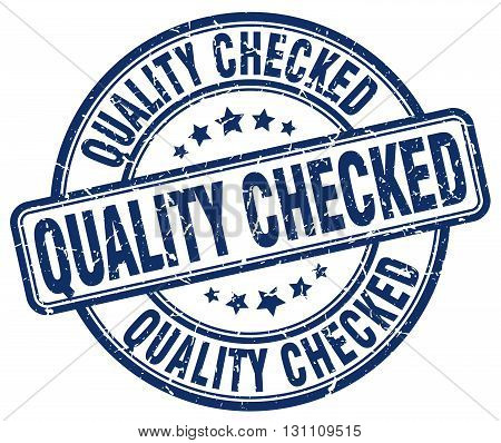 Quality Checked Blue Grunge Round Vintage Rubber Stamp.quality Checked Stamp.quality Checked Round S
