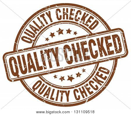 Quality Checked Brown Grunge Round Vintage Rubber Stamp.quality Checked Stamp.quality Checked Round