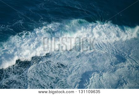 Breaking ocean blue wave abstract background concept