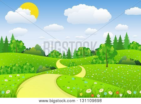 Summer landscape with meadows and flowers. Road and forest, nature landscape, vector background. vector illustration in flat design