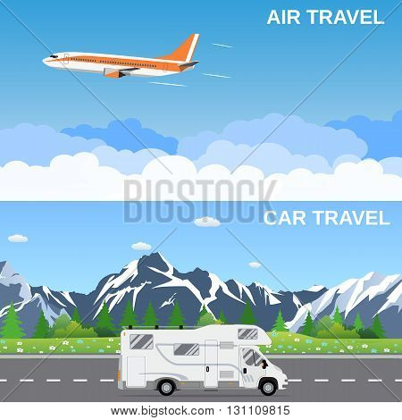 Travel panorama banners. flat style banners, flying plain above the sky, moving RV caravan motorhome in front of mountains. vector illustration in flat design. travel and vacations concept