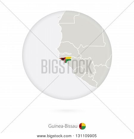 Map Of Guinea-bissau And National Flag In A Circle.