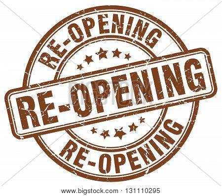 Re-opening Brown Grunge Round Vintage Rubber Stamp.re-opening Stamp.re-opening Round Stamp.re-openin