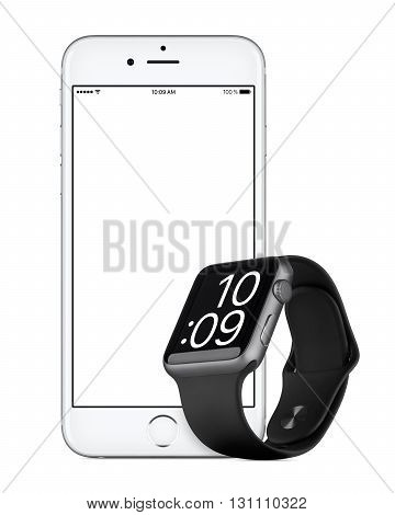 Varna Bulgaria - October 24 2015: Front view of Silver Apple iPhone 6s with white screen and Space Gray Apple Watch Sport mockup. Isolated on white.
