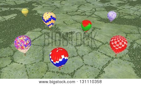 Computer generated 3D illustration with hot air balloons over a landscape