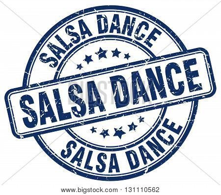 Salsa Dance Blue Grunge Round Vintage Rubber Stamp.salsa Dance Stamp.salsa Dance Round Stamp.salsa D