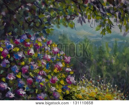 Beautiful shrub of lush colorful flowers. Green forest and mountains. Oil painting art