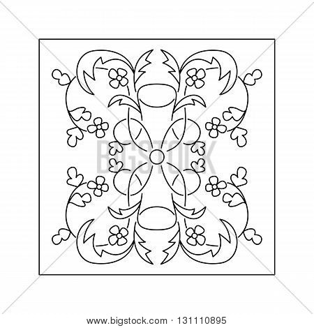 Abstract floral pattern with twig and flowers. Decorative element.