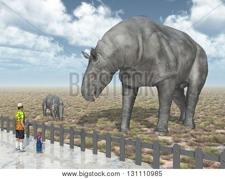 Computer generated 3D illustration with adult Paraceratherium, baby Paraceratherium and visitors in the zoo